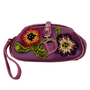 Dior 2005 Limited Edition Embroidered Satin Clutch
